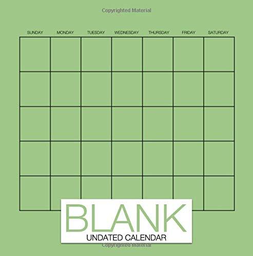 Blank Undated Calendar: Undated Monthly Calendar Book, 8.5 x 8.5, 12-Months Green DIY Blank Calendar for Scrapbooking DIY Calendar (Undated Calendars & Keepsake Calendars)