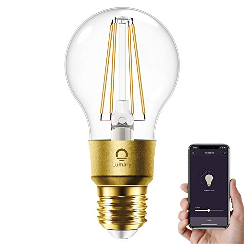 Lumary WiFi A60 Bombilla Edison E27 Vintage,Luces Edison Regulables (equivalente a 60 W),Blanco Cálido 2700K, 700lm,Compatible con Alexa & Google Assistant (No se requiere hub)