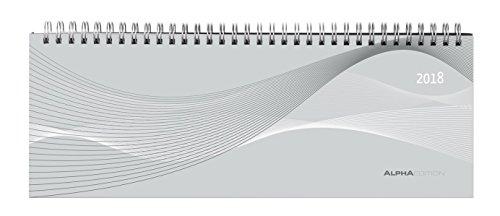 Tisch-Querkalender PP-Einband silber 2018