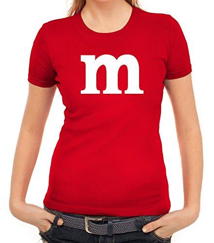 ShirtStreet Karneval Fasching Junggesellenabschied Damen T-Shirt Gruppen & Paar Kostüm mit M Aufdruck, Größe: M,Rot