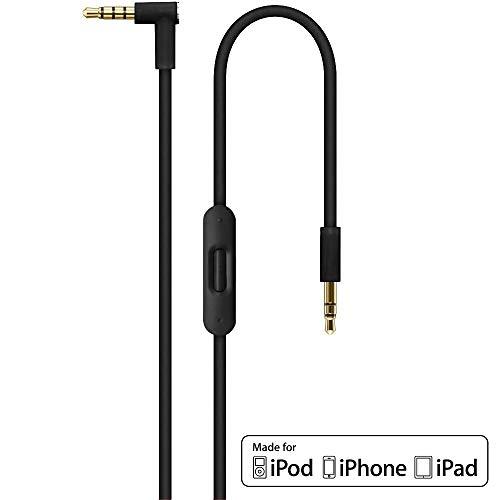 Remplacement 2.0 Câble audio avec micro en ligne microphone et télécommande Control Talk pour Apple Beats by Dr Dre/Monster casque - Studio, Pro, Solo, Mixr, Detox | iPhone Aux auxiliaire câble - Noir