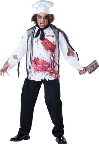Mens Kostüme Halloween Adult (Deluxe Zombie Goremet Chef Mens Halloween Fancy Dress Horror Adults Costume New (Medium 38 -40