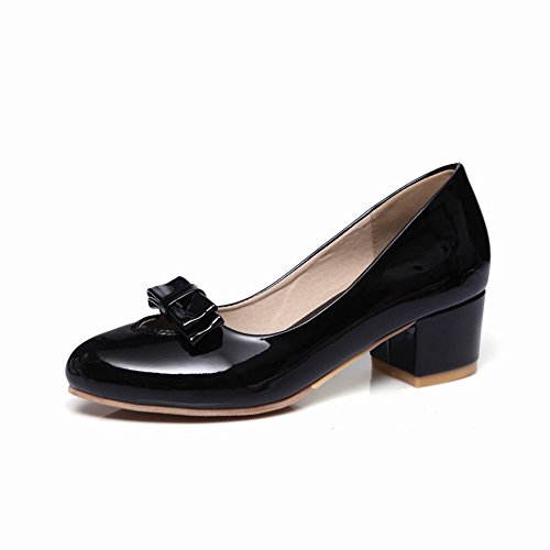 Mee Shoes Damen chunky heels mit Schleife Pumps Schwarz