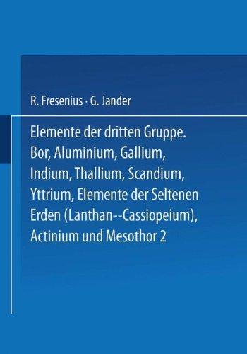 Elemente der Dritten Gruppe (Handbuch der analytischen Chemie   Handbook of Analytical Chemistry, Band 3)