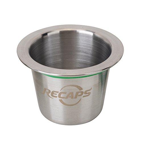 RECAPS--Cápsulas Reutilizables Cápsulas Recargables de Acero Inoxidable Conciliable con máquinas Nespresso (1 cápsula +120 Sellos)