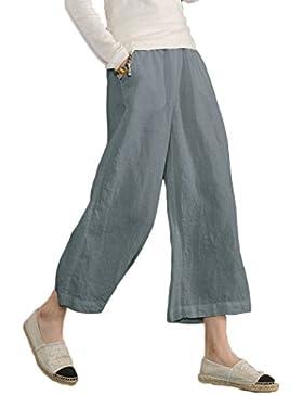 Ecupper pantaloni casual da donna dal taglio ampio con elastico in vita, in cotone, taglie comode