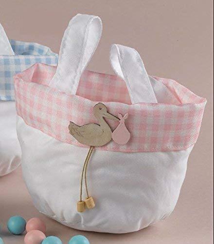 Publilancio srl super offerta 19 pezzi borsa cicogna rosa porta sacchetti confetti bomboniera