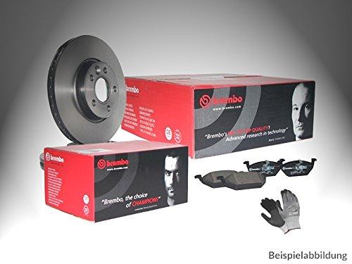 ORIGINAL BREMBO BREMSEN SET VORNE mit 2x Bremsscheiben Belüftet + 4x Bremsbelägen, inklusive Montagehandschuhe, Bremsensatz Scheibenbremse Bremsen Set, Bremskit, Bremsenkit