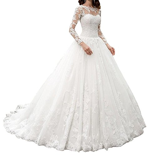 HotGirls Spitze Appliques lange HochzeitsKleider mit Hülsen schnüren sich oben Brautkleid (44,...