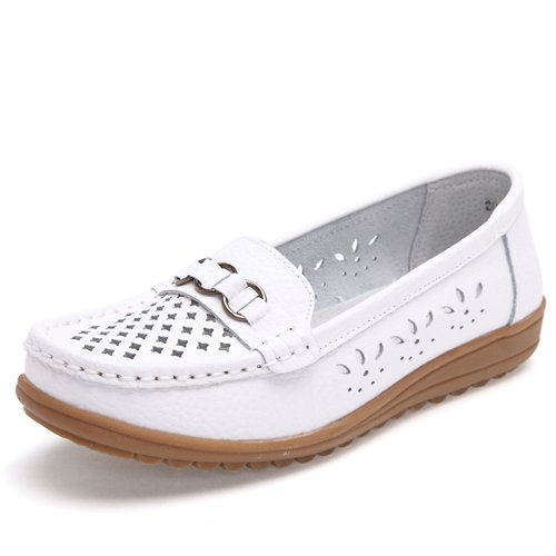 LEIT YFF Chaussures Femmes en Cuir Chaussures Plates Découpées Slip-On Chaussures Mocassins white