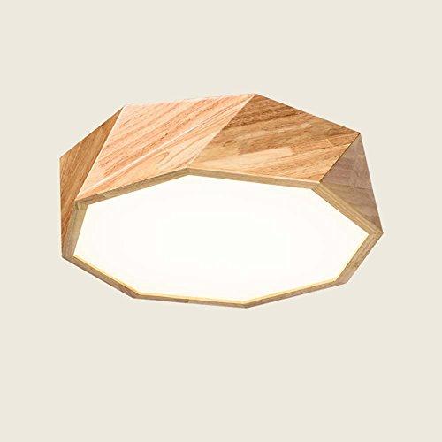 CAIXIA--Montage du flux Géométrie en bois massif à LED Nordique Luminaire plafonnier circulaire en bois Salon créatif avec lambris de chambre à coucher Plafonnier (couleur, taille en option) Ampoule incluse ( Couleur : Camaïeu-De 55 cm )