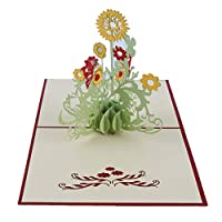 Beafavor Creative 3D Stereo Sun Flower Handmade Paper Carving Openwork Thanks Birthday Card Greeting Card