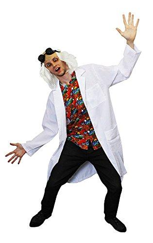 Déguisement pour adulte du docteur fou qui voyage dans le temps avec une blouse blanche + une chemise + une perruque + une paire de lunette. Idéal pour les enterrements de vie de garçon.