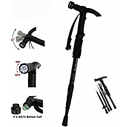 Grand Harvest Adjustable 9 LED Anti Shock Trekking Hiking Pole Vault Stick - 43 inch (Multicolor)