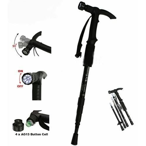 Grand Harvest Adjustable 9 LED Anti Shock Trekking Hiking Pole Vault Stick - 43 inch (Multicolor)