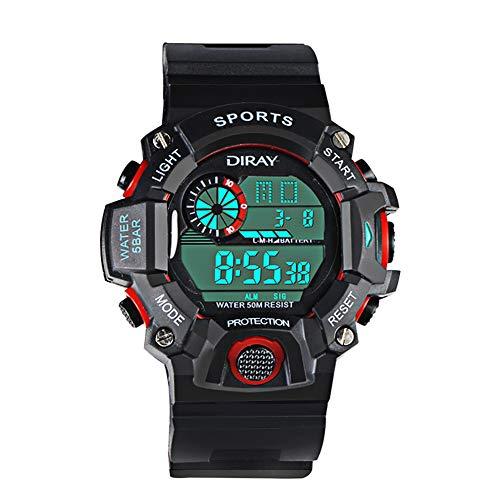 Kinder Digital Uhren Jungen Analog Kinderuhren, 5 ATM Wasserdicht Elektronische Analog Sport Multi-Funktion Armbanduhr Uhren mit Wecker/Dual Time/LED Licht für Jungen/Mädchen (Schwarz/Rot)