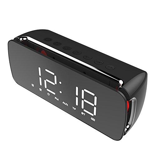 EgBert Dido Led LCD-Bildschirm Spiegel-Uhr Hi-Fi Fuction Bluetooth Tf Aux Play Fm Broadcast Radio Surround Sound Box Wecker - Schwarz Broadcast-kit