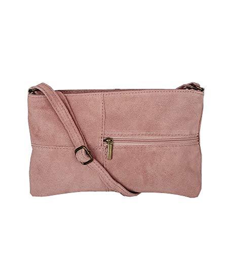 zarolo Damen Tasche, kleine Umhängetasche aus echtem Wildleder, Cross Body, Schultertasche Wildleder, Leder Clutch, itaienische Handarbeit -