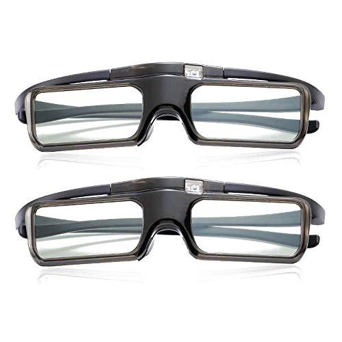 GTJXEY Aktive 3D-Shutterbrille, Wiederaufladbare 3D-Brille Für TV PC Material Ladezeit 2,5 Stunden Dauer 40 Stunden Für RF/Bluetooth Sony Panasonic Samsung 3D-TV-Epson 3D-Projektor,2Pack