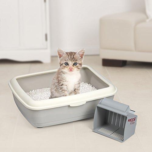 KeDDii Scoop XL Katzenstreuschaufel | Reinigung der Katzentoilette | Siebgröße Manuell Einstellbar | Multifunktionale Streuschaufel Für Katzenklo | Bis Zu 10x Mehr Volumen Als Herkömmliche Kotschaufeln | Grau