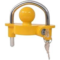 Cerrojo de remolque y 2llaves acero y aleación de aluminio para proteger tu remolque o votre caravana del Vo amarillo