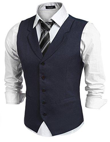 Dampf-knopf (Hasuit Herren Anzugweste Gentleman Basic Mode Einreiher Fünf Knöpfe Weste,Dunkelbau, Gr L)