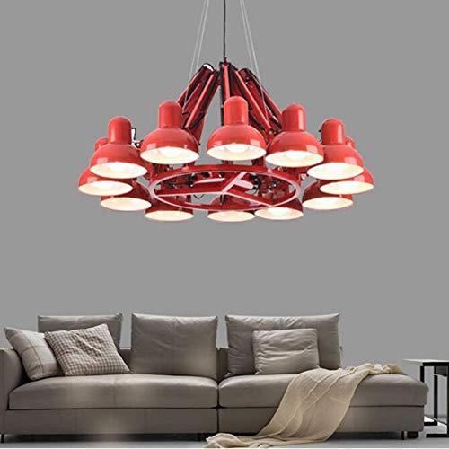 Xiao Yun ☞ * Pendelleuchte Kronleuchter Lampe Metall Warmweiß Einstellbare Lampe Winkel Industrieller Retro-Stil, 6/9/12 Lichter, 3 Farben Optional (Farbe: RED-12 Light) ☜ - Stahl Zwölf Light Kronleuchter