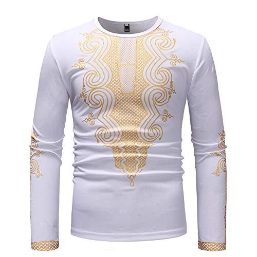 FRAUIT Herren Luxus afrikanischen Print Langarm Pullover Männer Schöner Druck Hemd Shirt Top Bluse