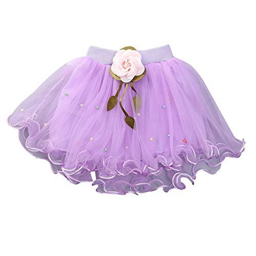 YWLINK MäDchen Zeigen Tanz Party Blume Prinzessin Mesh Karneval Minirock Mit Perlen Elastische Taille Tutu Rock (Lila,8)