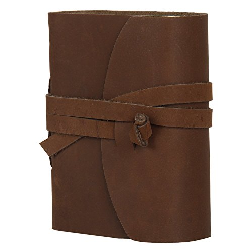 RUSTIC TOWN Handmade Small Vintage Antique Look Genuine Leather Bound Journal Diary Notebook Travel Book with Blank Unlined Pages to Write for Men Women Gift for Him Her