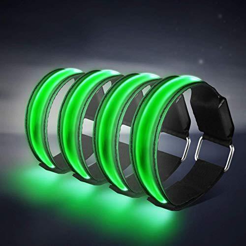 Banda Reflectante,4 Luz Running Brazalete Reflectante con Elástica Alta Visibilidad Luz de Seguridad, Luces LED Intermitentes para Correr, Practicar Senderismo o Ciclismo(Verde)