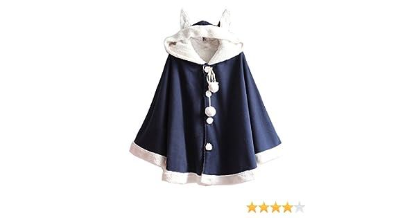 145544108fa29a Cheerlife Damen Mädchen Winter Mantel mit Kapuze Ohren Kaschmir Einreiher  warm Ponchojacke Wollmantel Blau: Amazon.de: Bekleidung