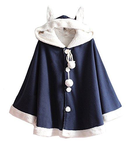 Cheerlife Damen Mädchen Winter Mantel mit Kapuze Ohren Kaschmir Einreiher warm Ponchojacke Wollmantel Blau (Mantel Einreiher Kaschmir)