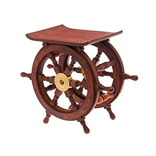aubaho Nautical memorabilia - ships helm steering wheel stool - side table - wood