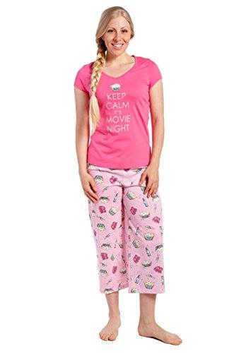 Ensemble Pyjama en Knit Coton pour Jeune Femme Nuit de Cine - Rose