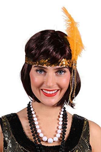Charleston-Stirnband mit Pailetten elegant show glamour luxus Haarband Charlston 20er 30er Jahre Hochwertiges Kostüm-Zubehör Party-Accessoire Karneval Fasching Fastnacht Mottopartys Einheitsgröße Gold (Deutsche Klammern Kostüm)