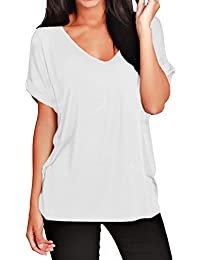 FEMMES BAGGY COUPE LARGE COL V REVERS HAUT MANCHES COURTES T-SHIRTS 8-26