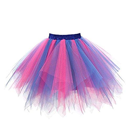 Tüllrock Zweifarbig, FNKDOR Bunt Tütü Tutu Petticoat Damen Kurze Rock Unterrock (Kurz, C) (Tutu Glitzer)