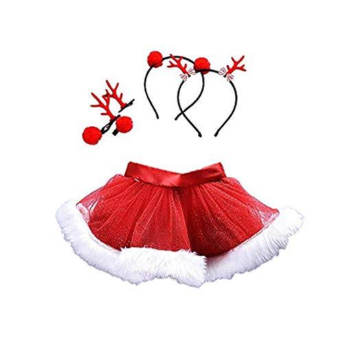 Weihnachten Kleinkind Kinder Baby Mädchen Festliche Outfits Rot Pailletten Tüll Tutu Rock Prinzessin Kleid+2 Satz Stirnband Kleidung Kostüm Karneval Party Fotografie Foto Prop Abendkleider
