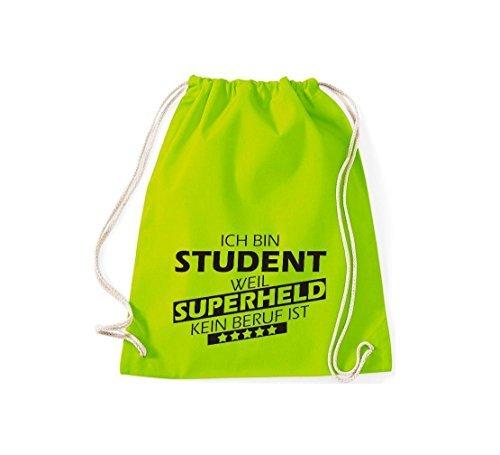 Shirtstown Borse palestra Ich bin Studente, perché Super eroe niente Occupazione è - Grigio Chiaro, 37 cm x 46 cm lime