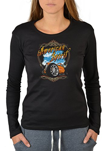 US-Car-Longsleeve-Damen/Langarm-Shirt Biker-Look: American Spirit yellow Hot Rod lässiges Auto-Motiv Schwarz