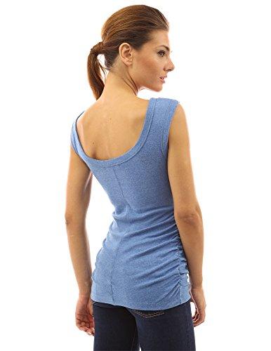 PattyBoutik femmes blouse ruché sans manches avec encolure dégagée et froncé sur les côtés Bleu