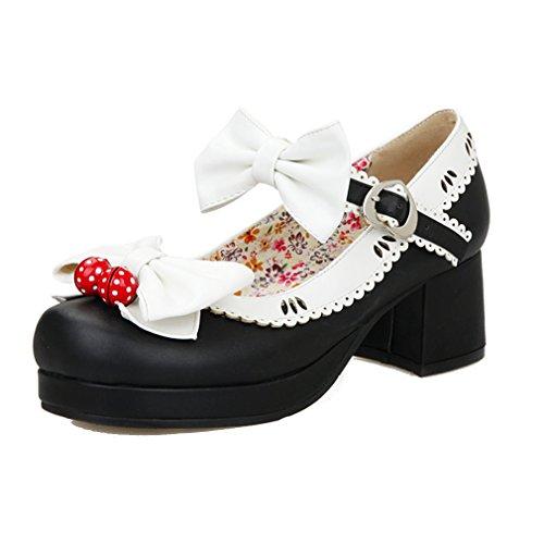 ENMAYER Femmes Chaussures à Talons Hauts à Talons Hauts Mary Janes avec Bowtie Noir(Cloche)