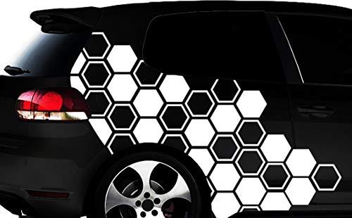 HR-WERBEDESIGN Hexagon Pixel Cyber Camouflage XXL Set Auto Aufkleber 111 Tuning Wandtattoos