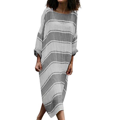 CUTUDE Damen Kleider Röcke Kurzarm Sommerkleider Frauen Plus Size Freizeit Leinen Lose Flügelhülse Streifen Drucken Lange Maxikleider (Dunkelgrau, Large) -