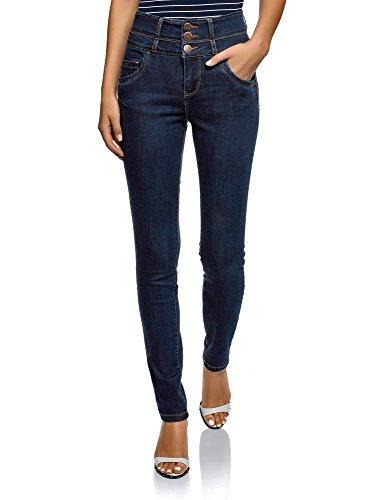 oodji Ultra Damen Jeans Skinny mit Hohem Bund, Blau, 29W / 32L (DE40 = EU42 = L)