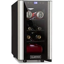 Klarstein Vinovista Picollo • Réfrigérateur à boissons • Mini-réfrigérateur à boissons compact• 24 litres • 8 bouteilles ou 16 canettes • écran LCD pour régler témpérature et éclairage • Silencieux