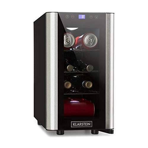 Klarstein Vinovista Picollo - Weinkühlschrank, Getränkekühlschrank, 24 Liter, 8 Flaschen, 3 Regaleinschübe, LED-Beleuchtung, geräuscharm, regelbare Temperatur von 8°-18°C, schwarz-silber