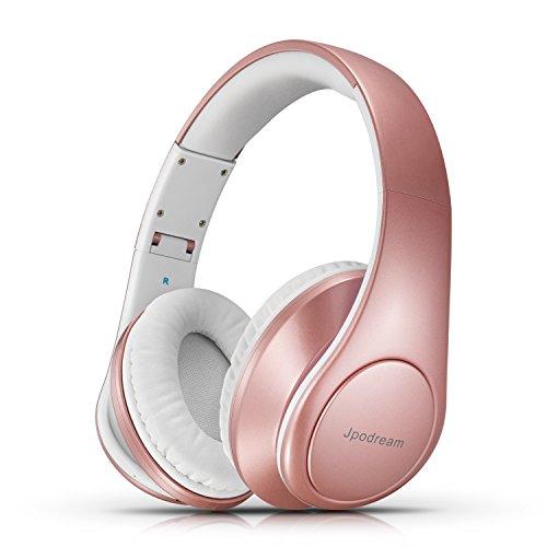 Auriculares Bluetooth Inalámbricos, Jpodream Auriculares Plegables 4 en 1 con Funciones de Entrada 3.5mm, Sonido Hi-Fi Estéreo Cascos Bluetooth con Orejeras Suave para iPhone Android BQ PC TV - Rosa