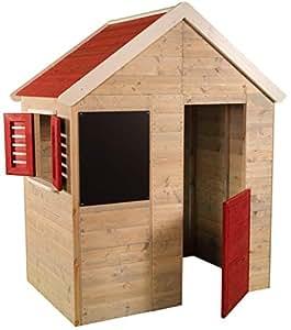 Casetta per bambini in legno Avventura estiva | Tipo aperto Piccola casa con finestra, persiane, lavagna, mezza porta